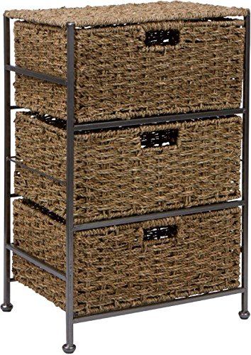 "24"" Seagrass and Metal 3-Drawer Storage Chest Side Table by Trademark Innovations"