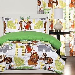 2 Piece Safari Themed Comforter Twin Set, Wild Jungle Animals Allover, Monkeys Elephants Tigers Giraffe Children Kids African Bedding Cute Creatures!