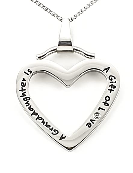 A Granddaughter Is a Gift of Love High Polished Stainless Steel Pendant with Rolo Chain