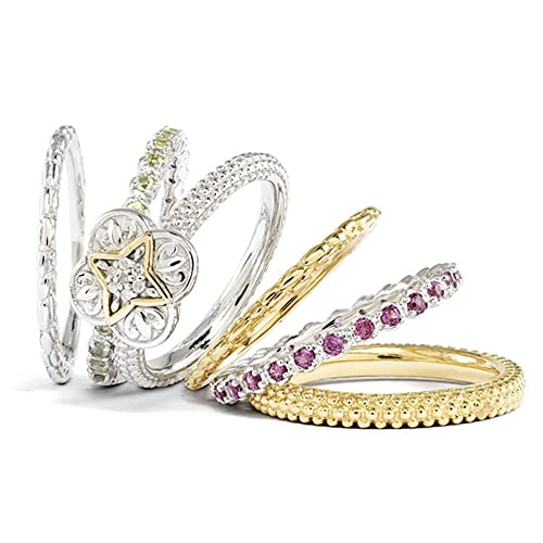 Black Bow Jewellery Company : Stackable Sterling Silver & 18K Gold Plated Diamond Ornate Ring Set
