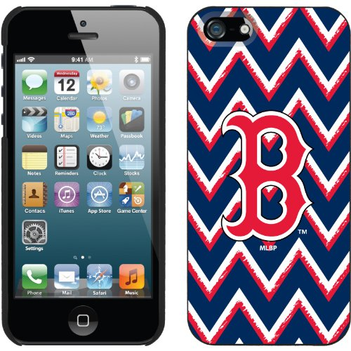 Special Sale Boston Red Sox - Sketchy Chevron design on a Black iPhone 5s / 5 Thinshield Snap-On Case by Coveroo