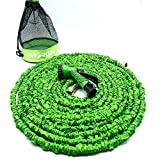Evigreen 100FT Strongest Collapsible Garden Hose Durable Latex Hose Pipe High Quality Garden Hose Brass Connector 7in 1 Spray Nozzle with Hose Storage Mesh Bag(Garden Hose)