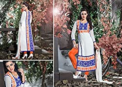 Typify Georgette Best Selling White Embroidered Semistitched Dress