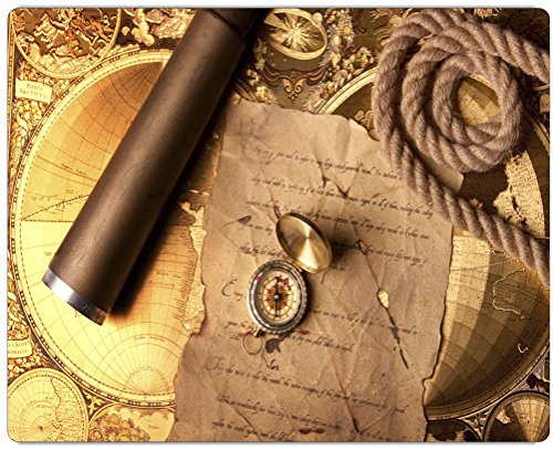"Rikki Knighttm Vintage Navigation Compass Map And Telescope Design On 20"" X 16"" High Definition Museum Quality Almunimum Print - Metal Art Print - With Floating Block Wall Hangers (Proudly Made In The Usa)"