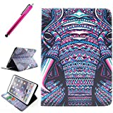 iPad Mini 3 Case, JCmax Protective Cover New Colorful Premium Flip Foilo Style Slim PU Leather Wallet Case Smart Cover Bulit in Credit Card Slots and Kickstand Feature For Apple iPad Mini 3,Come with One Responsive Stylus -[Elephant Pattern]