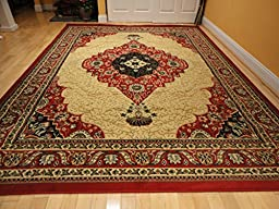 Luxury Traditional Red Persian Rug 8x11 Red Cream Tabriz Style Rugs Red Rugs for Living Room Carpets 8x10 Rugs for Bedroom Clearance Rug (Large 8\'x11\' Rug)
