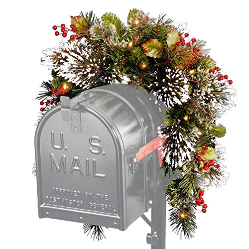 Pre-Lit Artificial Pine with Berries Christmas Mailbox Swag