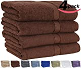 "Utopia 100% Cotton Bath Towels, Easy Care, Ringspun Cotton for Maximum Softness and Absorbency, 4-Pack - Dark Brown (26"" x 52"")"