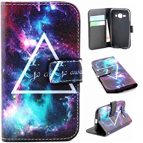 Samsung J1 Hülle ,[PU Leder Wallet Case] Folio Bookstyle Tasche für Samsung Galaxy J1 SM-J100 Schutzhülle Lederhülle Handytasche mit Ständerfunktion Kartenfächer,Stern-Dreieck