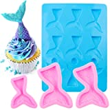 BAKHUK 15 Cavities Seashell Mold, Mermaid Tail Mold, Silicone Fondant Chocolate Mold for Party, Birthday Decorations (Color: B-pink-3pcs)