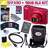 Nikon Coolpix S9100 12.1 MP CMOS Digital Camera (Red) + 16GB Deluxe Accessory Kit