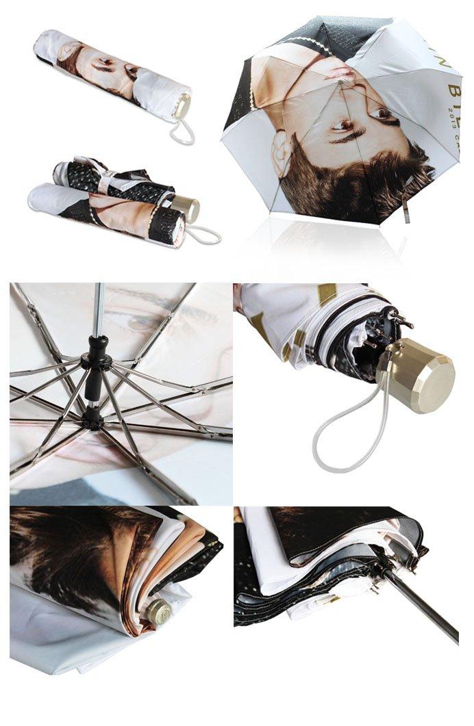 POOKOO!! Vintage Elephant Art Personalized Custom Foldable Rain Umbrella 43.5 inch Wide Good Gift 3