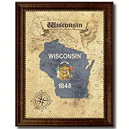Wisconsin State Vintage Map Flag Art Custom Picture Frame Office Wall Home Decor Cottage Shabby Chic Gift Ideas