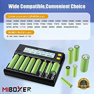 Universal Battery Charger,MiBOXER 8-Bay Smart Charger with Automatic LCD Display,Fast Charge Rechargeable Li-ion LiFePO4 Ni-MH Ni-Cd AA AAA C 18650 26650 18350 17670 18700 21700 RCR123,Fire Prevention (Color: 8-bay battery charger)