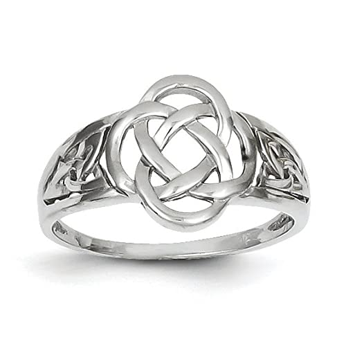 14ct White Gold Ladies Celtic Knot Ring - Size N 1/2