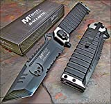 1 X Mtech Ballistic Silver Sawback Tanto Skull Assisted Opening Knife New!!