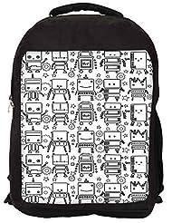 Snoogg Digit Bit Boy Pattern Backpack Rucksack School Travel Unisex Casual Canvas Bag Bookbag Satchel
