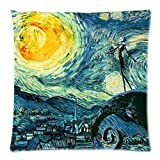 Starry Night and the Nightmare Before Christmas Printed Cotton Zippered Pillow Case - 18-Inch