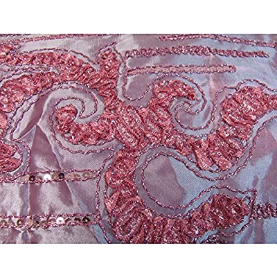 Rose Pink Beaded Embroidered Floral Silk Taffeta Decorative Fabric by Yard