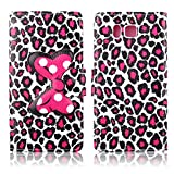Fashion Cute Cartoon Pattern Bow Bowknot Leopard Print Wallet Flip Case Folio PU Leather Stand Cover with Card Slots for Samsung Galaxy Alpha G850F + Free Lovely Gift