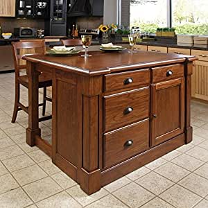 Home Styles Aspen 3 Piece Kitchen Island Stool Set Kitchen Storage Carts