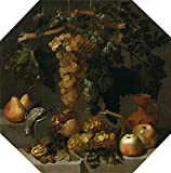 Perfect Effect Canvas ,the Vivid Art Decorative Prints On Canvas Of Oil Painting 'Espinosa Juan Bautista Octagonal Still Life With Grape Bunches 1646 ', 18 X 18 Inch / 46 X 46 Cm Is Best For Kitchen Decoration And Home Decor And Gifts