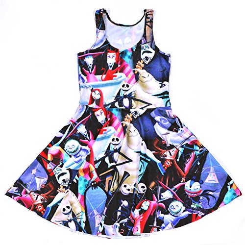 Lady Queen Girls Nightmare Before Christmas Print Scoop Skater Dress Party Skirt One Size Multicolor