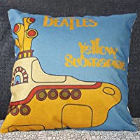 Lovely Cartoon Yellow submarine Sofa Simple Home Decor Design Throw Pillow Case Decor Cushion Covers Square 18*18 Inch Blend Linen from Littlekelly