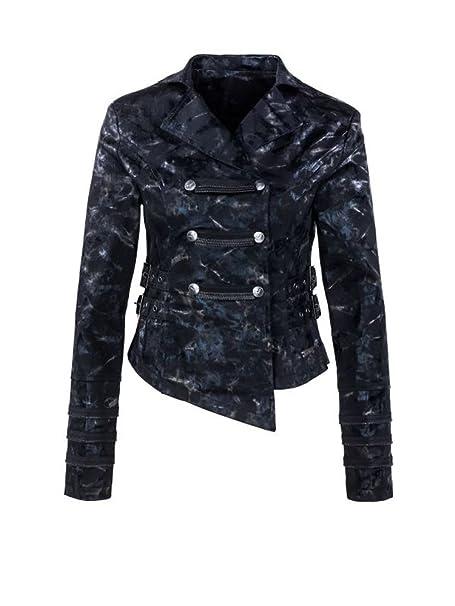 Queen of Darkness, Glänzende Military-Style Jacke mit Schnallen