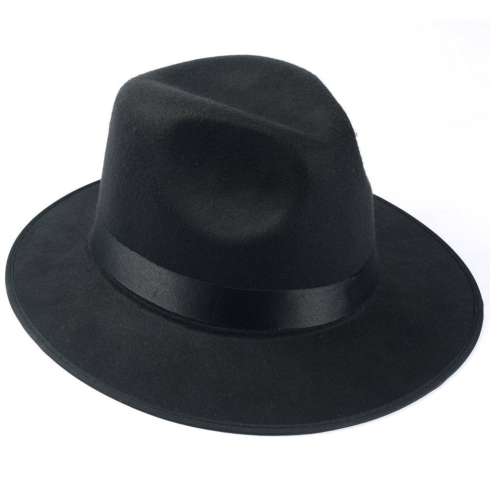 Medium Vintage Style Men's Hard Felt Wide Brim Fedora Trilby Panama Hat 3