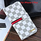 RAYTOP® Luxury Classic White Check Leather Cases Kickstand For Apple IPhone 6 / 6S Plus 5.5 Inches Flip Covers...