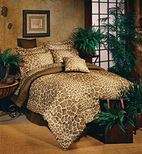 Brown Tan Giraffe Print Comforter Bedding Set Bed In A Bag & Matching Sheets front-1053099