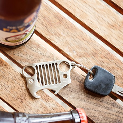 jeep grill key chain bottle opener the original heavy duty 304 stainless steel keychain with. Black Bedroom Furniture Sets. Home Design Ideas