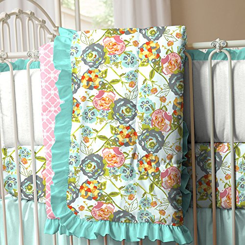 Pink And Teal Baby Bedding 7657 front