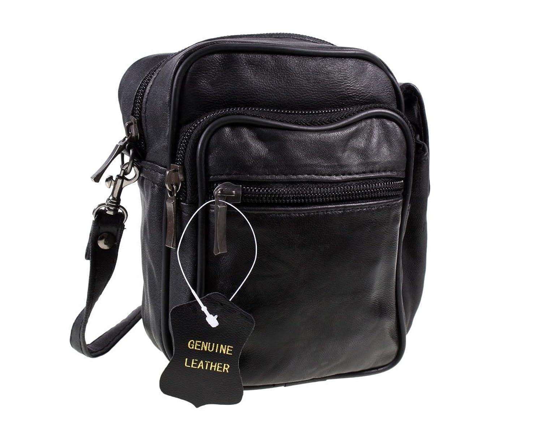 Black Leather Organiser Shoulder Bag 17