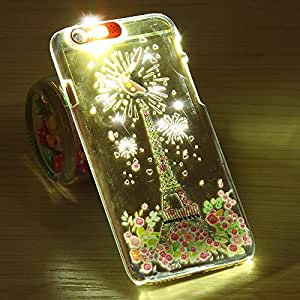 iPhone 6 Plus Case- YXF Creative LED Light up Incoming Call Flash Case Lovely Cute Cartoon Pattern Ultra Thin Clear PC Case for iPhone 6 Plus (5.5'') (Eiffel Tower)