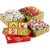 Season Greetings, Merry Christmas Stocking Stuffer Celebration Gift Tower Filled With Christmas Tree Pretzels, Roasted Salted Red Pistachios, Cashews, Smoked Almonds, Holiday Old Fashioned Candy Mix, Holiday Gift Basket For Men, Women And Family Of All Ages