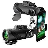 40X60 Monocular Telescope HD Dual Focus Scope, Waterproof Monocular Cell Phone Holder Adapter Outdoor Hunting Watching Birds Traveling (Black 1) (Color: Black 1, Tamaño: 40*60)