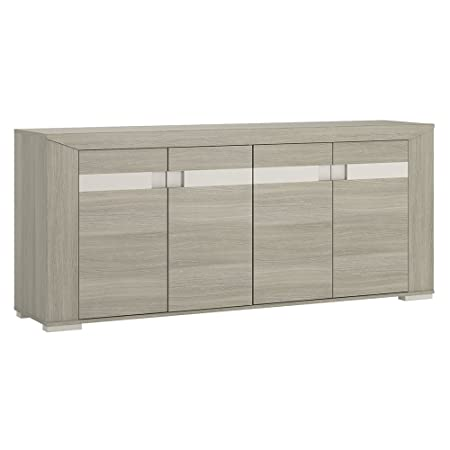 Furniture To Go Madras Extra-Wide 4-Door Sideboard with Melamine, 190 x 82 x 43 cm, Latte Oak