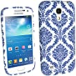 iGadgitz FLORAL COLLECTION: Blue & White Floral Pattern TPU Case Cover with Rubberised Finish for Samsung Galaxy S4 SIV Mini I9190 I9195 Android Smartphone Mobile Phone + Screen Protector