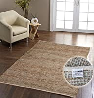 Homescapes Madras Leather Hemp Rug - Natural Beige Grey - 3 x 5 ft by Homescapes