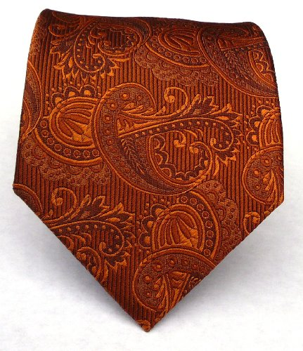 100% Silk Woven Burnt Orange (Rust) Paisley Tie