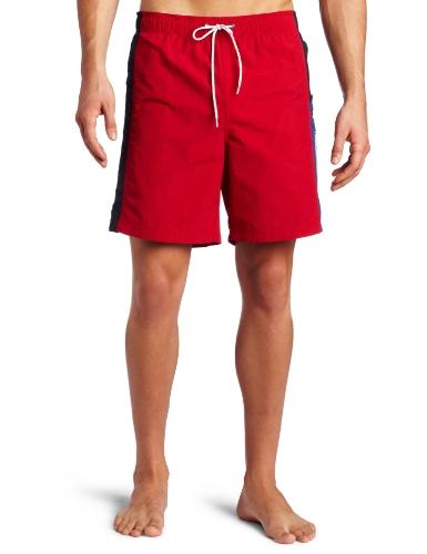 Nautica Men's Mariner Color Block Swim Trunk, Nautica Red, Large
