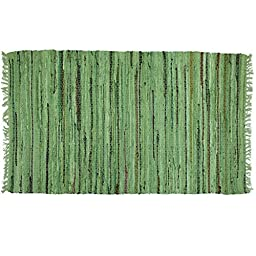Sage Green Rag Rug Runner, Cotton, 24\