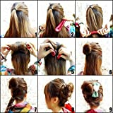 Shells 2PCS Cloth Magic Clip French Twist Hairstyle Donut Bun Former Maker Hairstyle Must-haves Tool--Hot Pink And Black Color