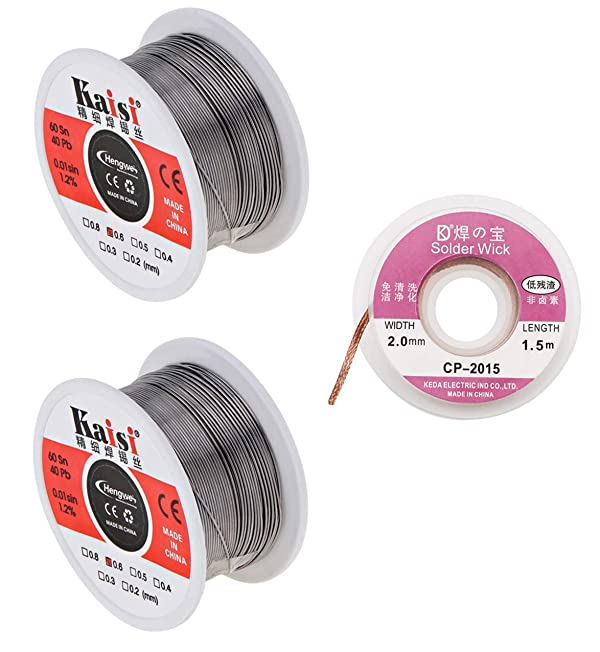 2 Pack Solder Wire Tin Lead Rosin Core 60/40 Fine Soldering Wire Reel (0.6mm,50g) + Desoldering Wick Solder Braid Wire Remover Kit (2.0mm,2.5 ft) for Electrical Soldering and DIY (Color: Solder Wire + Desoldering Wick, Tamaño: 2 Solder wire + Solder Wick)