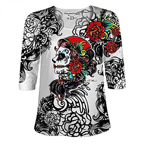 Lace Sleeve Leila Cothran - Rose Red Dia de los Muertos Day Of The Dead Shirt