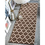 Unique Loom Trellis Collection Moroccan Lattice Light Brown Home Décor Runner Rug (2 x 6)