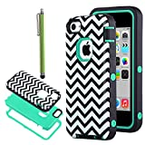 iPhone 5C Case, ULAK 3in1 Fashion Chevron Wave Pattern Armored Hybrid PC & TPU Shock Absorbing Combo Case for Apple iPhone 5C with Screen Protector and Stylus (Chevron + Mint Green PC)