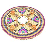Twisha Wooden Rangoli With 4 Diyas (Color: Cream, Size: 30 Cms, Shape: Round)